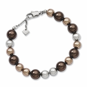"Chisel 7.5"" Stainless Steel Multicolor Beaded as Simulated Pearl Bracelet with Extension"