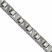 "Chisel 8.5"" Stainless Steel Polished Diamond Bracelet"