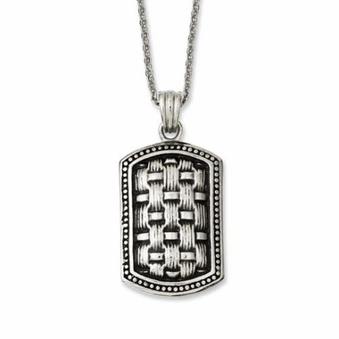 Chisel Antiqued Stainless Steel Dog Tag