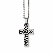 Chisel Antiqued Stainless Steel Pebble Cross Pendant