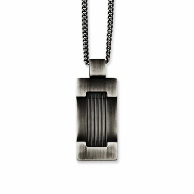 Chisel Antiqued Stainless Steel Pendant