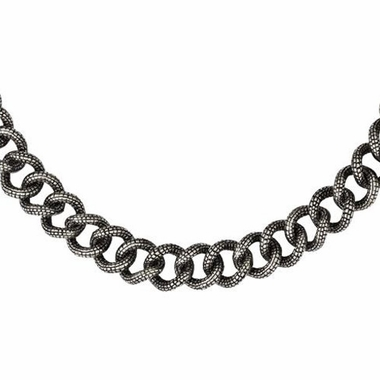 Chisel Antiqued Stainless Steel Textured Link Necklace