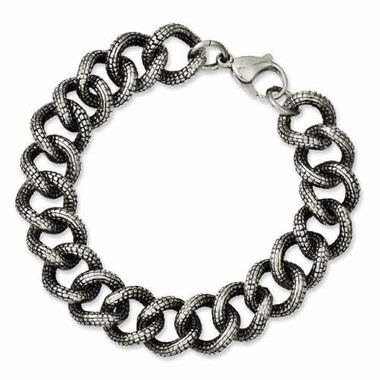Chisel Antiqued Textured Stainless Steel Bracelet