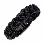 Chisel Black Plated Stainless Steel Bracelet with Black Leather