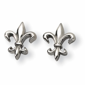 Chisel Fleur de Lis Titanium Earrings