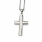 Chisel Laser Cut Stainless Steel Cross Pendant with Textured Edges