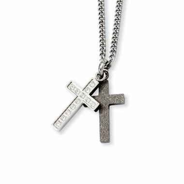 Chisel Laser Cut Stainless Steel Cross Pendants with Cubic Zirconia