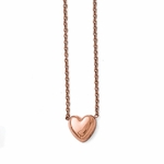 Chisel Polished Rose IP Stainless Steel Heart Pendant