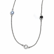 Chisel Polished Stainless Steel and CZ (Cubic Zirconia) Necklace