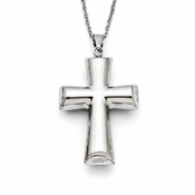 Chisel Polished Stainless Steel Cross Pendant