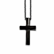 Chisel Polished Stainless Steel Cross Pendant with Black IP