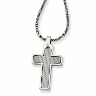 Chisel Polished Stainless Steel Cross Pendant with Gray Carbon Fiber