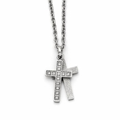 Chisel Polished Stainless Steel Cross Pendants with Cubic Zirconia