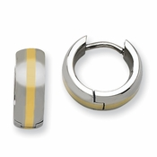 Chisel Polished Stainless Steel Hinged Hoop Earrings with 14K Inlay