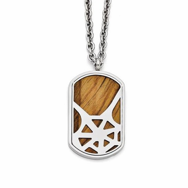 Chisel Polished Stainless Steel Tiger's Eye Dog Tag