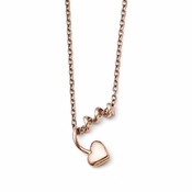 Chisel Rose IP Stainless Steel Coil Heart Pendant