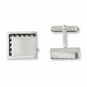 Chisel Satin Finished Stainless Steel Cufflinks with Antiqued Edge