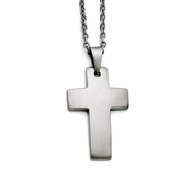 Chisel Satin Stainless Steel Cross Pendant