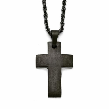 Chisel Satin Stainless Steel Cross Pendant with Black IP