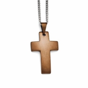 Chisel Satin Stainless Steel Cross Pendant with Chocolate IP