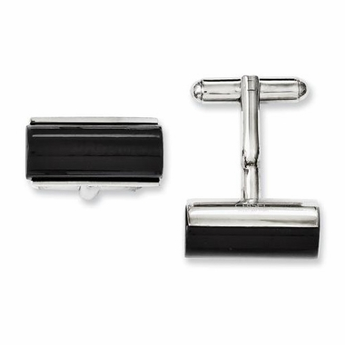 Chisel Stainless Steel and Black Agate Cufflinks