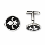 Chisel Stainless Steel and Black Enamel Fleur de lis Cufflinks