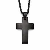 Chisel Stainless Steel and Black IP Cross Pendant