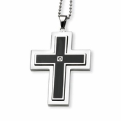 Chisel Stainless Steel and Black IP Cross Pendant with Cubic Zirconia