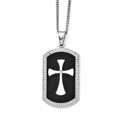 Chisel Stainless Steel and Black IP Dog Tag with Cubic Zirconia