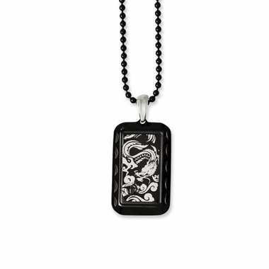 Chisel Stainless Steel and Black IP Dog Tag with Dragon Design