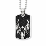 Chisel Stainless Steel and Black IP Dog Tag with Wing Design