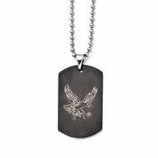 Chisel Stainless Steel and Black IP Eagle Dog Tag