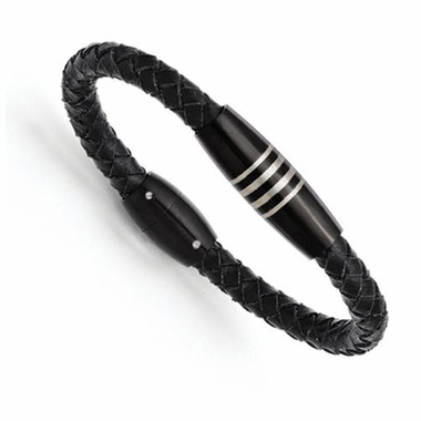 Chisel Stainless Steel and Black IP Leather Bracelet