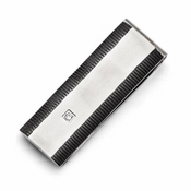 Chisel Stainless Steel and Black IP Money Clip with Cubic Zirconia