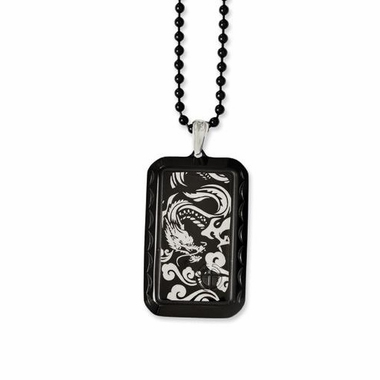 Chisel Stainless Steel and Black IP Pendant with Dragon Design