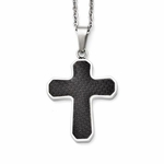 Chisel Stainless Steel and Carbon Fiber Cross Pendant