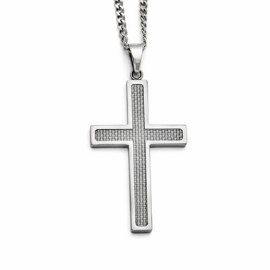 Chisel Stainless Steel and Gray Carbon Fiber Large Cross Pendant