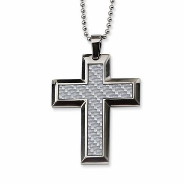 Chisel Stainless Steel and Gray Carbon Fiber Large Cross Pendant with Beveled Edges