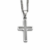 Chisel Stainless Steel and Gray Carbon Fiber Small Cross Pendant