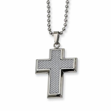 Chisel Stainless Steel and Gray Carbon Fiber Small Cross Pendant with Beveled Edges