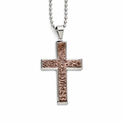 Chisel Stainless Steel and Textured Chocolate IP Cross Pendant