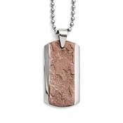 Chisel Stainless Steel and Textured Chocolate IP Dog Tag