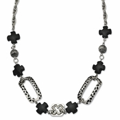 "Chisel Stainless Steel Black Agate and Maltese Resin 24"" Necklace with 1"" Extender"