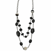 "Chisel Stainless Steel Black and Crystallized Agate 24"" Necklace with 1.5"" Extender"