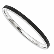 Chisel Stainless Steel Black Crystal Rounded Bangle