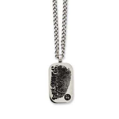 Chisel Stainless Steel & Black Enamel Dog Tag