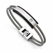 Chisel Stainless Steel Black IP Plated Bracelet with Cubic Zirconia