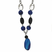 "Chisel Stainless Steel Blue and Black Agate 24"" Necklace with 2"" Extender"