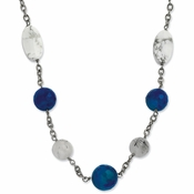 "Chisel Stainless Steel Blue Jade, Green Agate and Howlite 26"" Necklace with 2"" Extender"