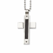 Chisel Stainless Steel Cable Cross Pendant with Black Diamonds